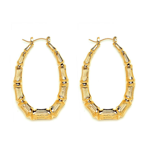 Oval Hollow Casting Bamboo Hoop Earrings   gemgem jewelry.myshopify.com