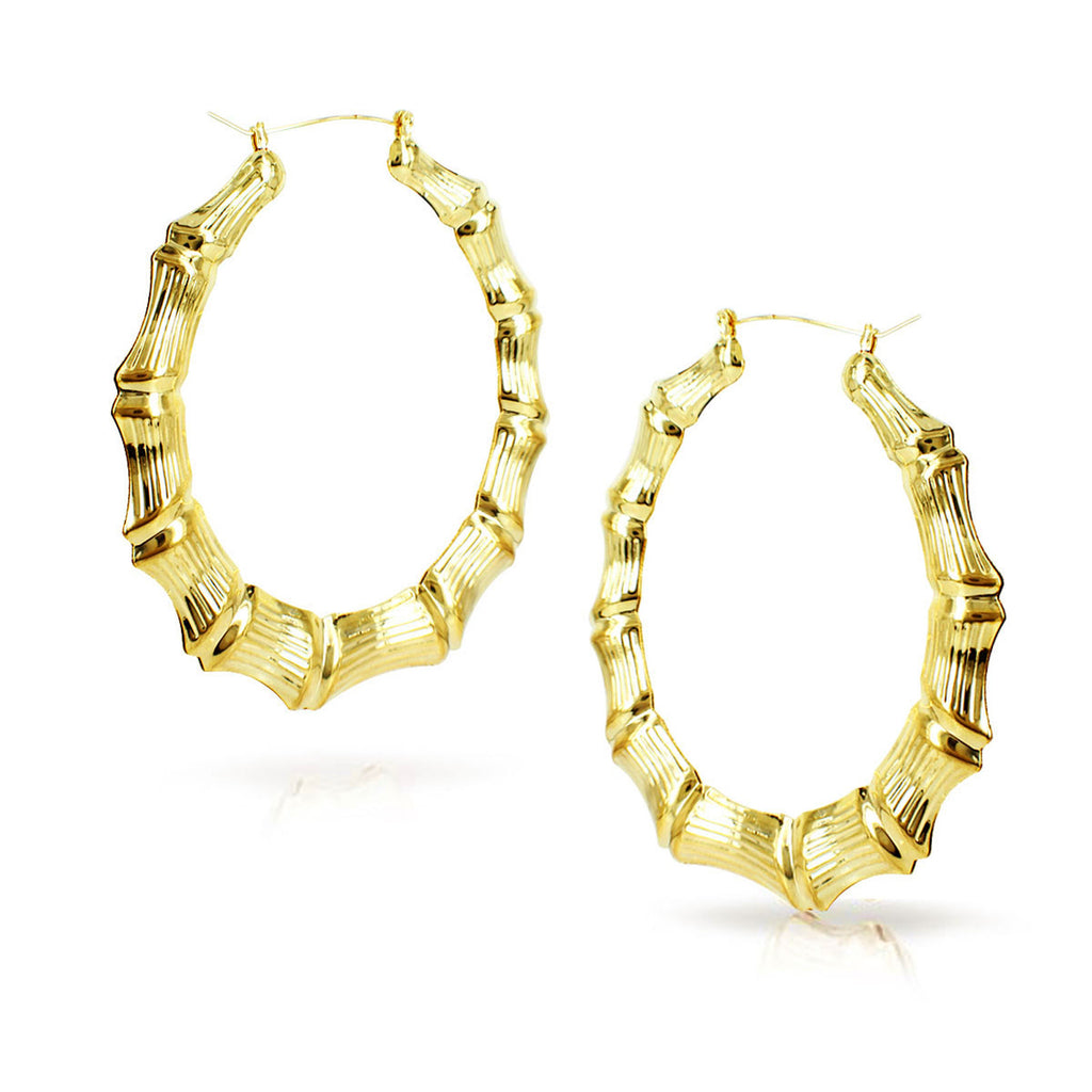 Gold Plated Round Bamboo Hoop Earrings