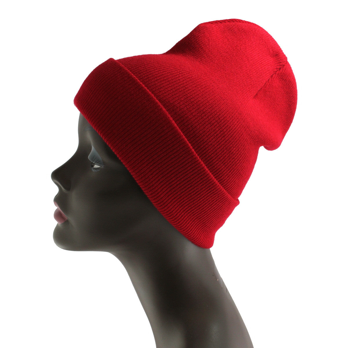 Unisex Knitted Red Beanie Hat-One Size