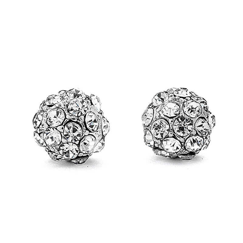 Pave Crystal Fire Ball Stud Earrings-8mm