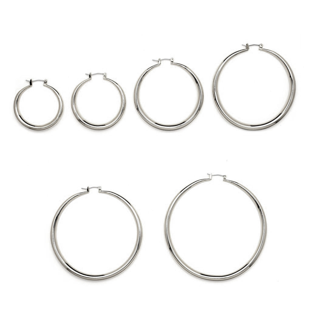 Rhodium Plated Hollow Hoop Earrings