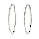 Rhodium Plated CZ Pave Hoop Earrings