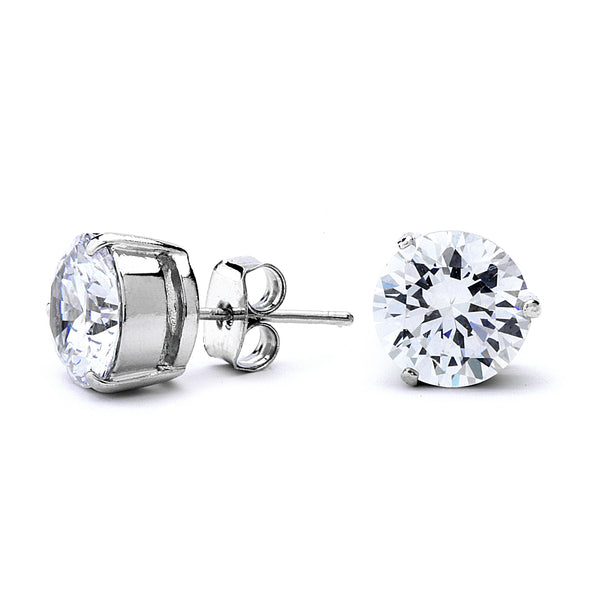 Round Cut Clear CZ Stud Earrings