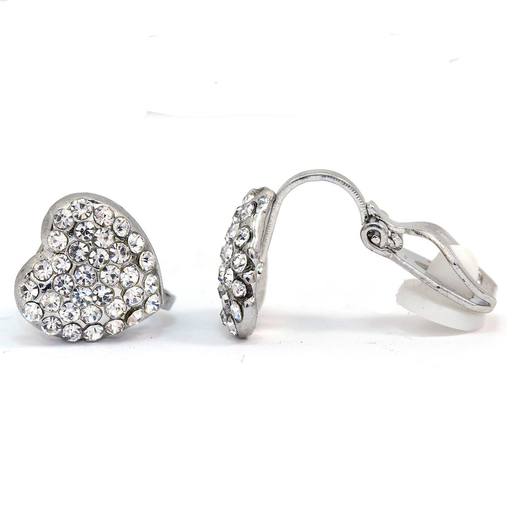 Pave Crystal Heart Clip On Earrings(10mm)
