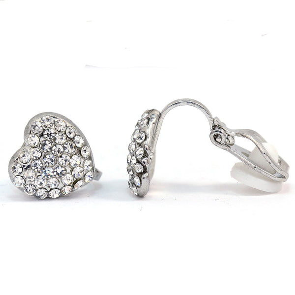 Pave Crystal Heart Clip On Earrings(10mm)   gemgem jewelry.myshopify.com