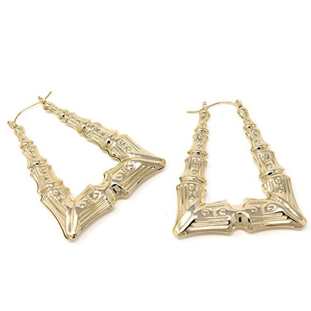 Triangle Hollow Casting Bamboo Earrings