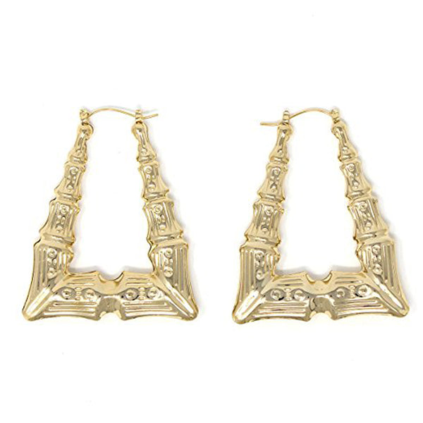 Gold Plated Triangle Bamboo Hoop Earrings