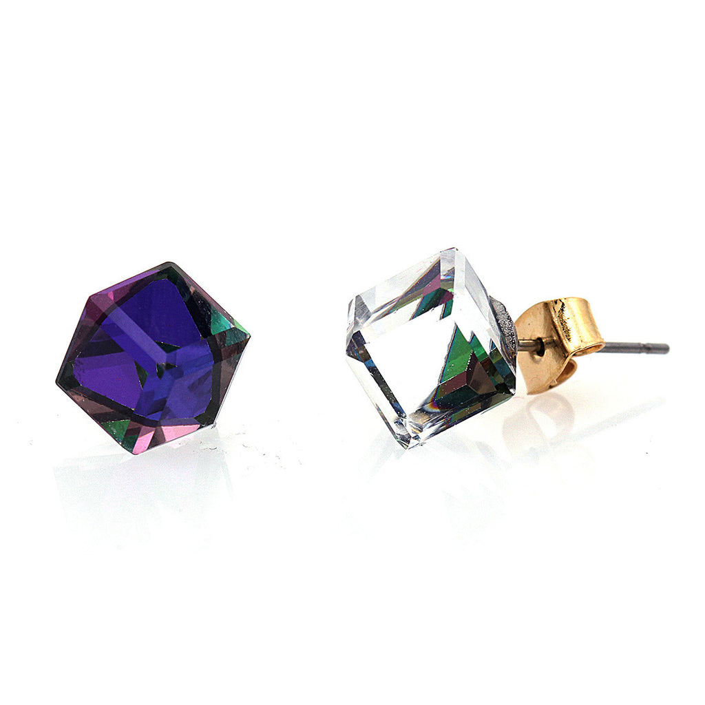 AB Pave Crystal Cube Stud Earring