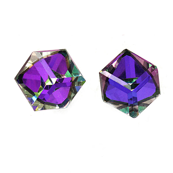 AB Cube Crystal Stud Earrings