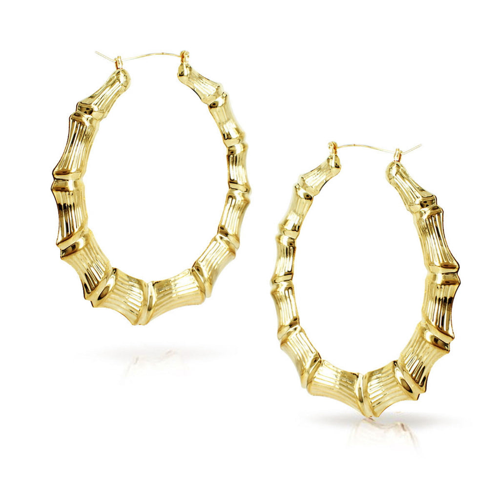 Bamboo Hoop Earrings 2.5 inches
