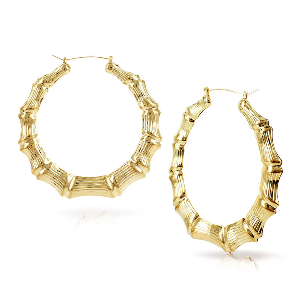Bamboo Hoop Earrings 3.5inches