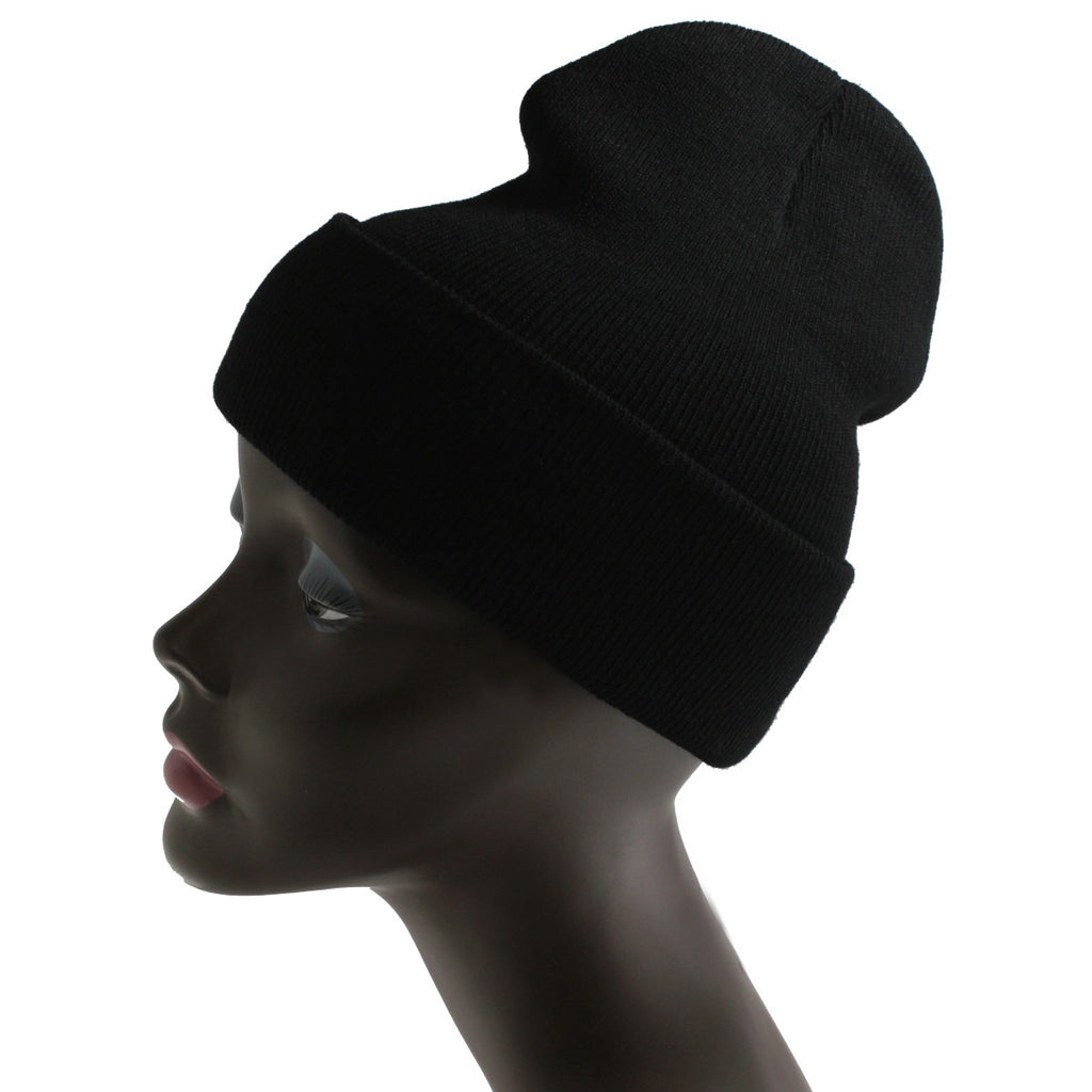 Unisex Knitted Black Beanie Hat-One Size