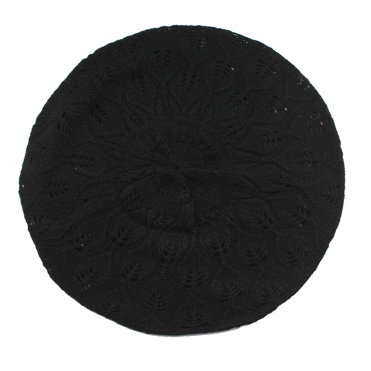 Womens Black Lace Tam Beret Hat-Size Free
