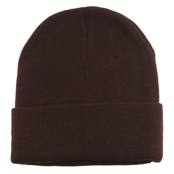 Unisex Knitted Brown Beanie Hat-One Size