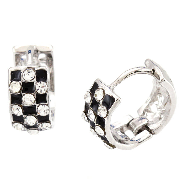 Rhodium Plated Check Pattern Huggies Earrings