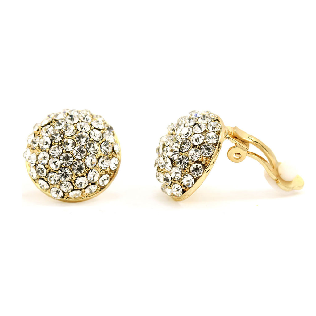 Gold Plated Pave Crystal Round Clip On Earrings