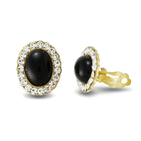 Pave Crystal Black Epoxy Clip on Earrings -24mm