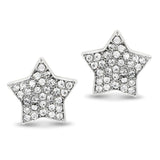 Rhodium Plated Pave Crystal Star Clip On Earrings