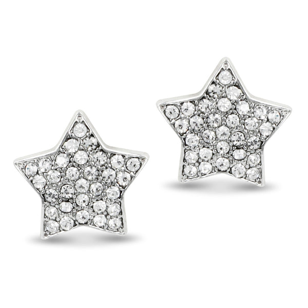 Rhodium Plated Pave Crystal Star Clip On Earrings-10mm