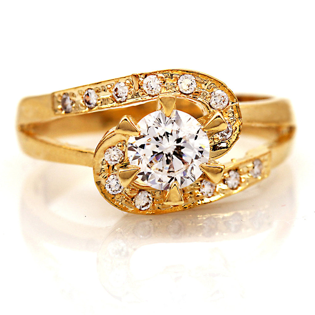 0.75 CT CZ Bypass Wedding Ring-Gold Tone