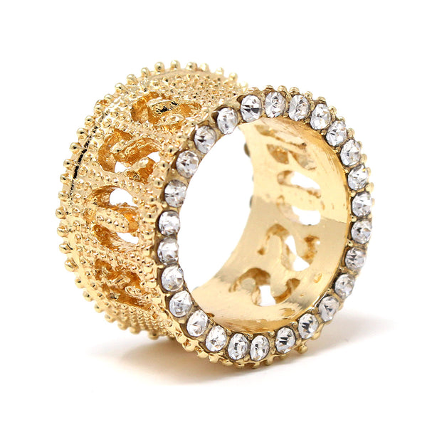Gold Plated Round Cut Pave Set CZ BOSS Wide Band Cocktail Ring