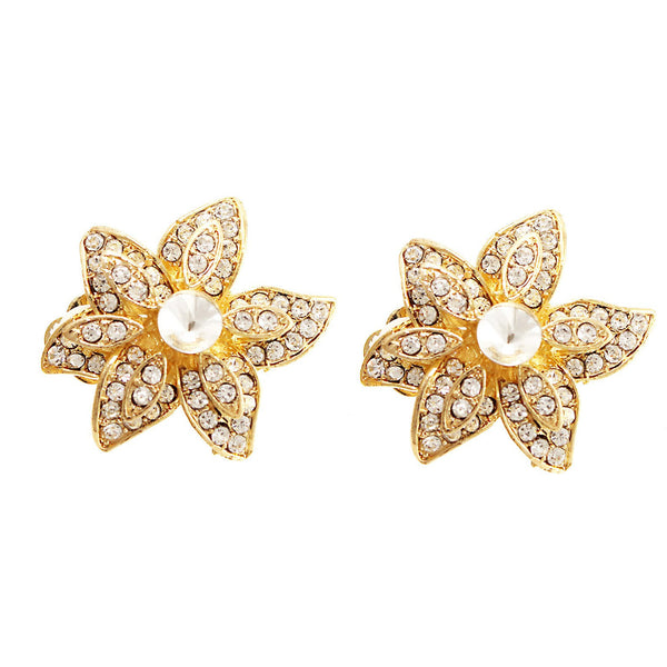 Pave Crystal Flower Clip On Earrings