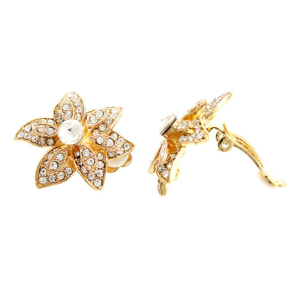 Pave Crystal Flower Clip On Earrings-24mm