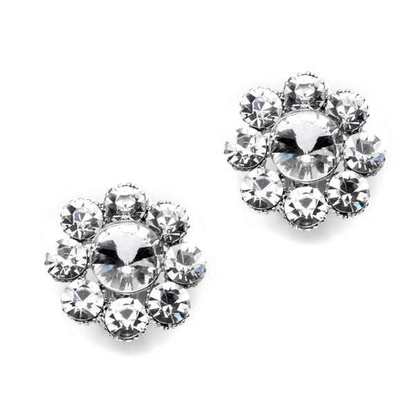 Pave Crystal Big Flower Clip on Earrings (23 mm)