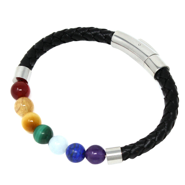 7 Chakra Healing Stone Leather Bangle Bracelet-Magnetic Closure