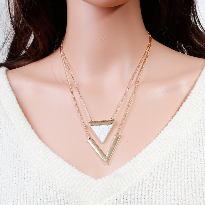 Gold Plated Triangle Multilayered Gem Stone Necklaces for Women