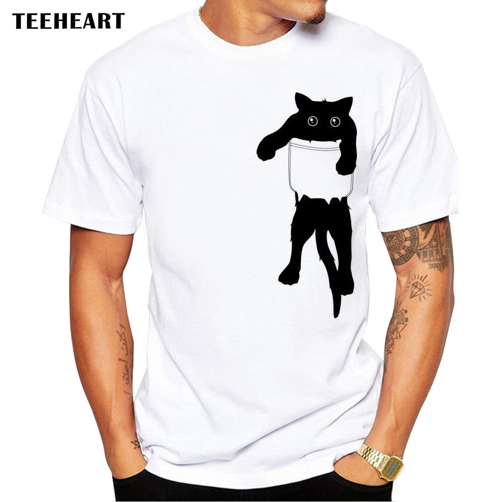 Men's Graphics Printed Funny Cat in Pocket Hipster T Shirt