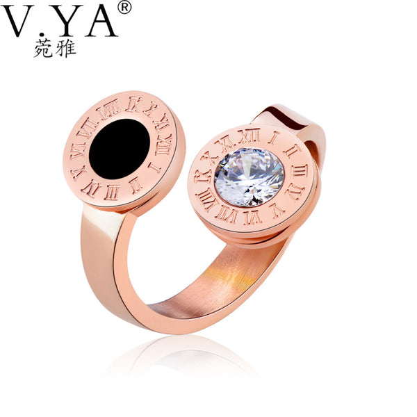 V.YA 2017 Fashion Stainless Steel Women Rings Luxury Brand Jewelry Rings for Women Rome Number Creative Rings DropShipping