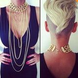 Boho Punk Shiny Cut Gold Plated Necklace Tassel Body Chain Necklace