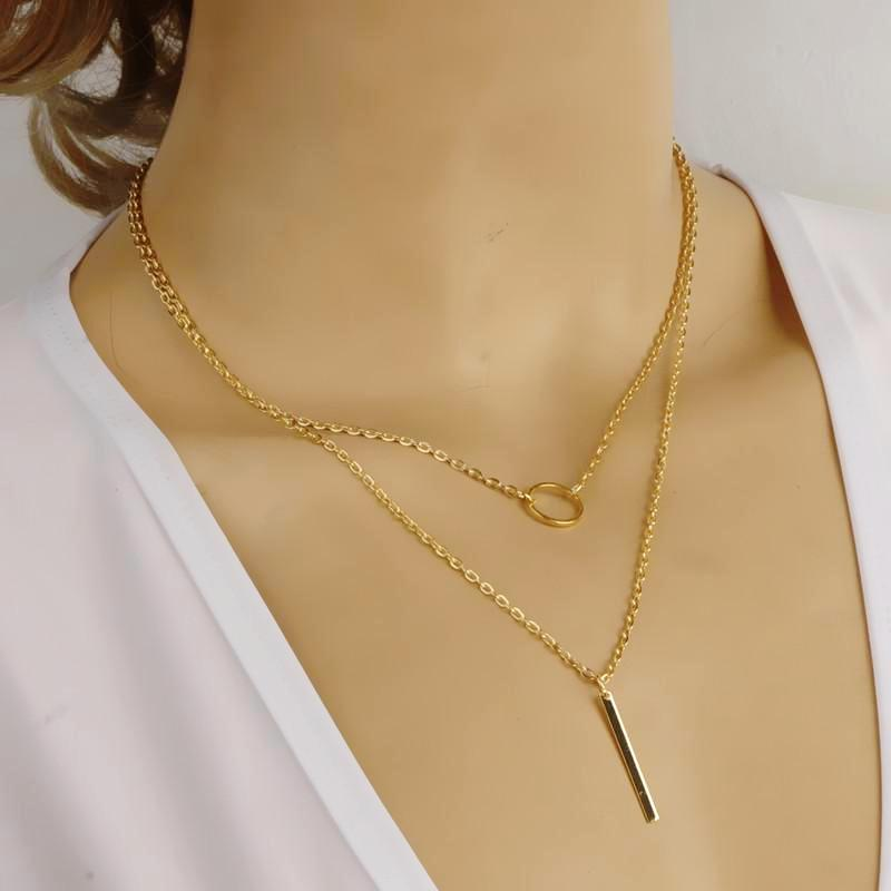 Gold Plated Simple Ring and Bar Pendant Tassel Alloy Short Necklace