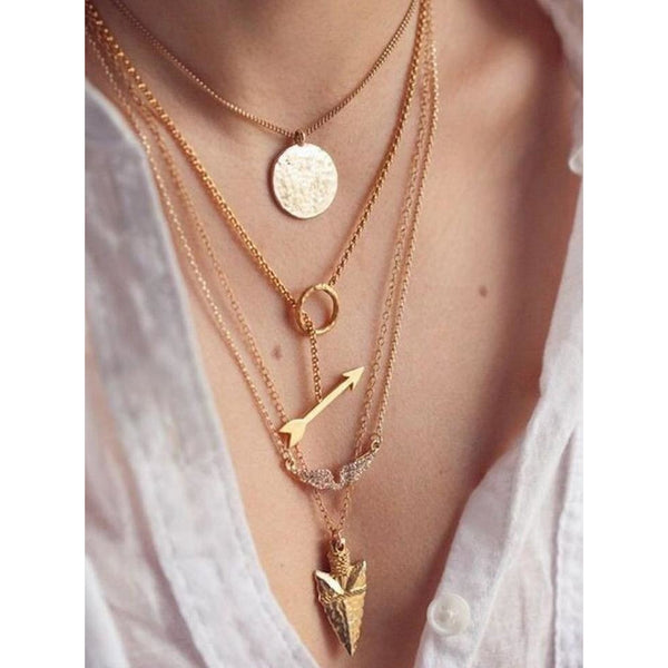 Gold Plated Multilayer Irregular Crystal Pendant Chain Necklace