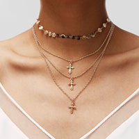Bohemian Sequins Necklaces For Women Vintage Coin Choker Cross Layered Necklace Femme Colares Statement Party Jewelry 2018 New