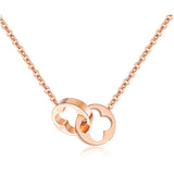 Rose Gold Plated Lucky Grass Double Loop Interlock Necklace