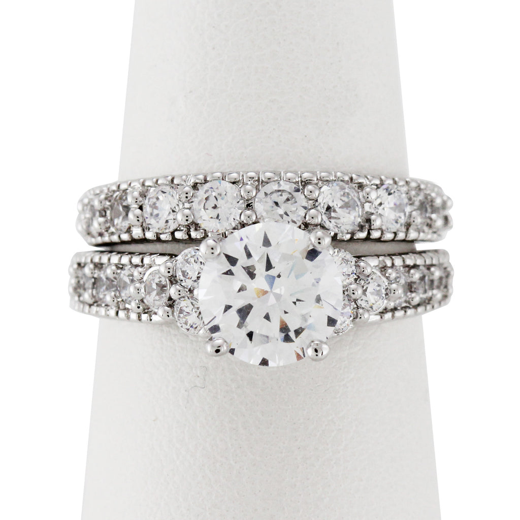 1.5 CT CZ Round Cut Wedding Ring Set