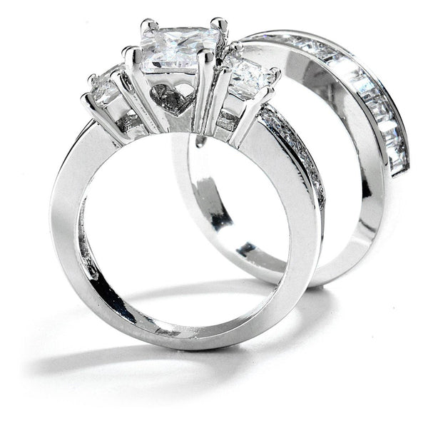 3 Stones Emerald Cut CZ  Engagement Wedding Ring Set