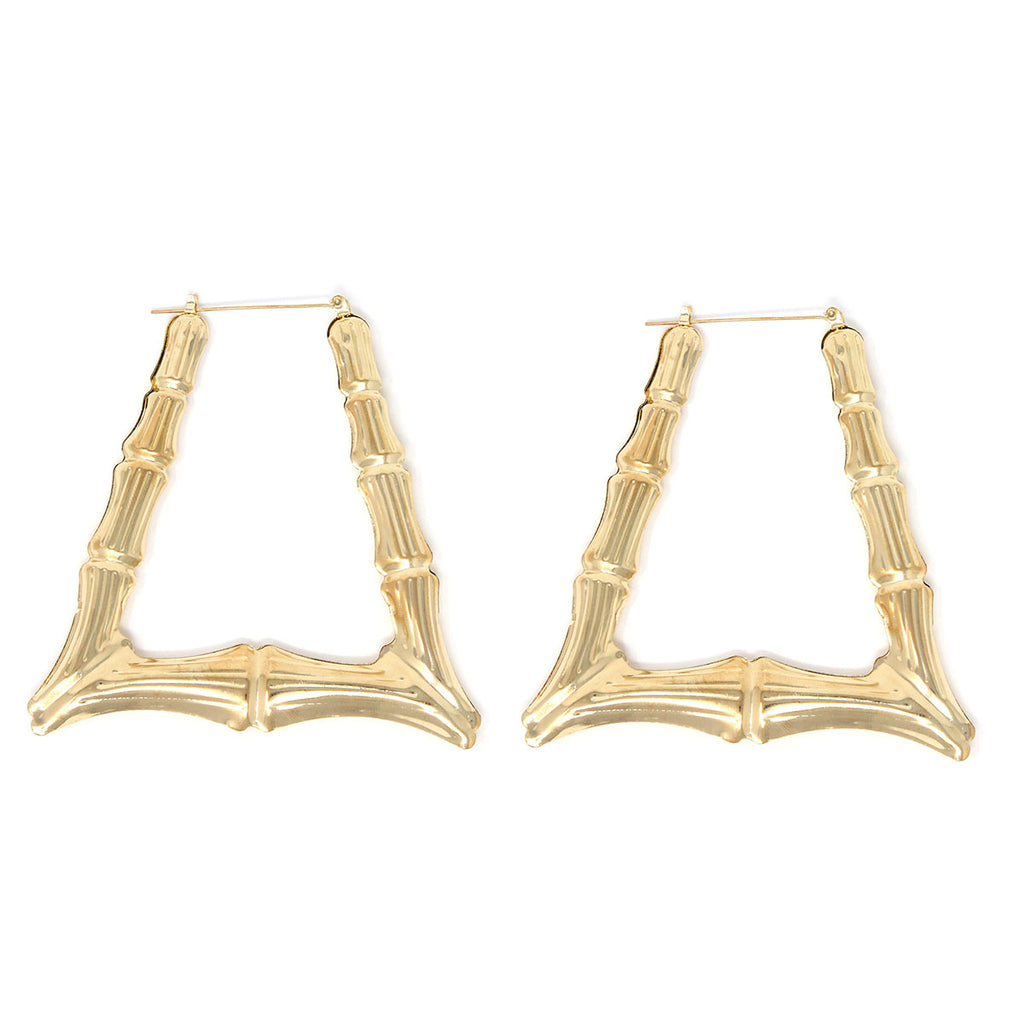 Triangle Hollow Casting Bamboo Pincatch Earrings (85 mm, Gold Tone)