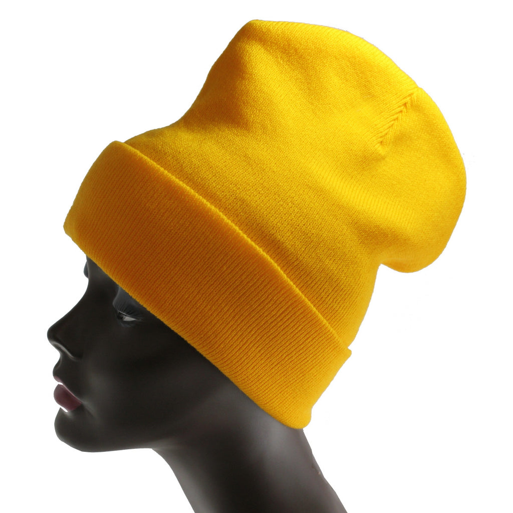 Unisex Knitted Yellow Beanie Hat-One Size