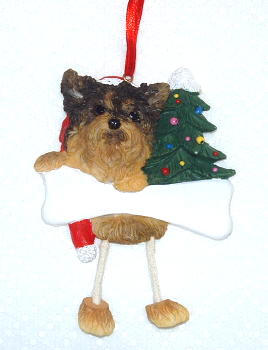 Yorkshire Terrier Puppy Dangling Dog Christmas Ornament