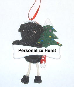 Black Pug Dangling Dog Christmas Ornament