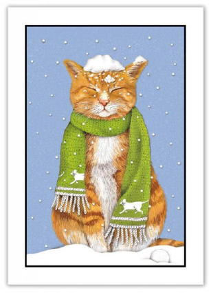 "Cat Christmas Cards ""Tabby in Snow"""