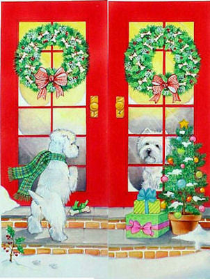"Westie Christmas Cards ""Dropping By"""