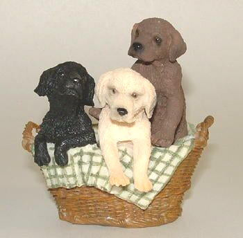 3 Lab Puppies Figurine