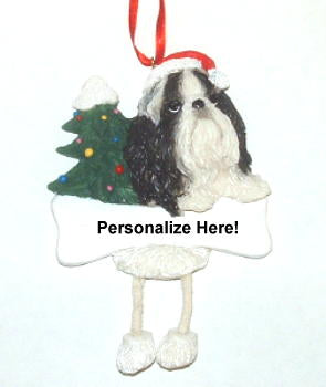 Shih Tzu Dangling Dog Christmas Ornament