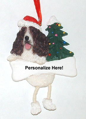 Springer Spaniel Dangling Dog Christmas Ornament
