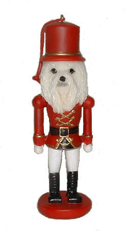 Maltese Toy Soldier Christmas Ornament