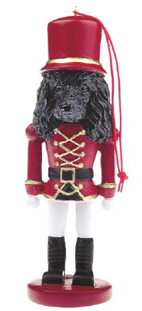 Black Poodle Toy Soldier Christmas Ornament